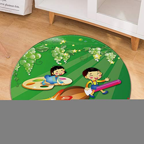 Cartoon Round Carpet Thick Non-Slip Wear-Resistant Material Household Children Crawling Mat Office Computer Chair Carpet
