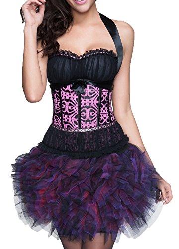 r-dessous sexy Corsagenkleid Corsage + Rock Mini Kleid schwarz kurz Cocktailkleid Partykleid Abendkleid Tutu Groesse: 6XL