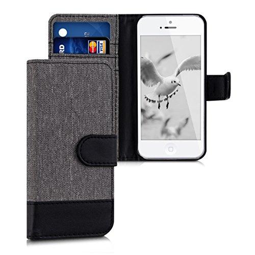 kwmobile Funda Compatible con Apple iPhone SE (1.Gen 2016) / 5 / 5S - Carcasa de Tela y Cuero sintético Tarjetero Gris/Negro