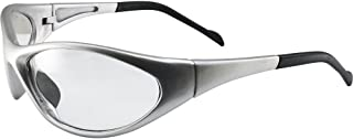 Global Vision Reflex Padded Motorcycle Safety Sunglasses Silver Frame Clear Lens ANSI Z87.1