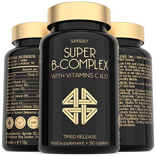 Vitamin B Complex High Strength - 90 Timed Release Tablets - All 8 B Vitamins plus Vitamins C & D - Vitamin B12, B6, Folic Acid, Biotin, B1, B2, B3, B5 - Vegan - UK Made Vit B Complex Supplement