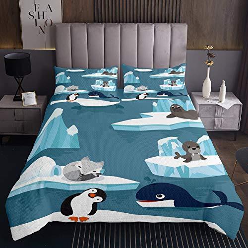 Colcha acolchada para niños, diseño de delfín y pingüino de zorro para niños, niñas, adolescentes, océano, marino, acolchado, transpirable, diseño de animales polares, tamaño individual