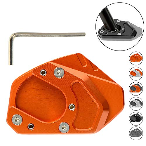 Seitenständer Vergrößern Platte für KTM Duke 125 200 250 390 690/ RC 125 200 250 390/KTM 950 990 Adventure S/KTM 690 Enduro R/KTM Husqvarna 701 Enduro Supermoto/KTM 1190 ADV 2013(Orange+Orange)