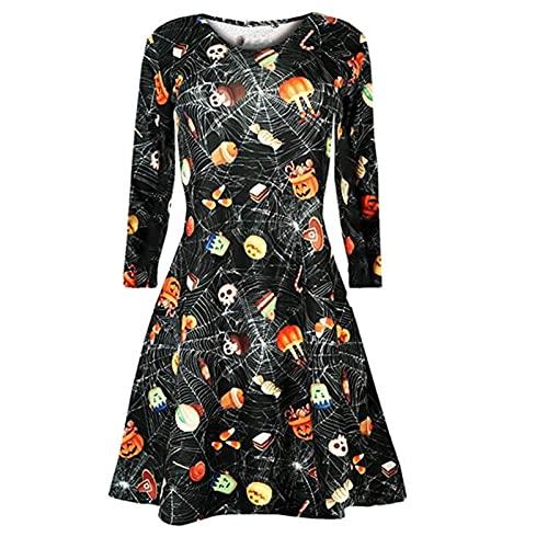 FOTBIMK Vestidos de Halloween para mujer, estilo vintage, calabazas, cráneo, vestido de noche de Halloween, manga larga, vestido de fiesta, A-negro, XX-Large