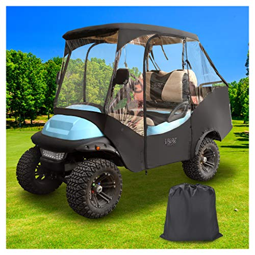 10L0L Golf Cart Heavy Duty Cover 4-Sided Full Protection Enclosure Cover for Club Car Precedent,Waterproof Solid Golf Cart Storage Cover (Black/Transparent)