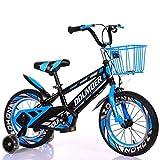 AISHFP Hummer vélo avec Flash Formation Roues Kids vélo Enfant, 12' 14' 16' 18' Pouces garçons/Filles Bikes pédales pour 3-6-9-Year-Old avec Le Panier,Bleu,18inch