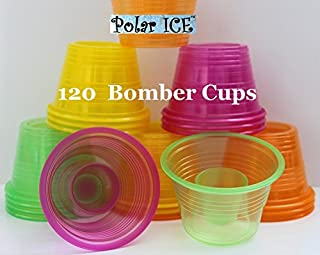 Plastic Power Bomber Shot Cups or Jager Blaster Bomb Glasses (Package of 120, Assorted Neon - Soft Plastic)