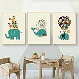 BGAJLGSVJF Grüne Karikatur Tiere für Kinder Kinderzimmer