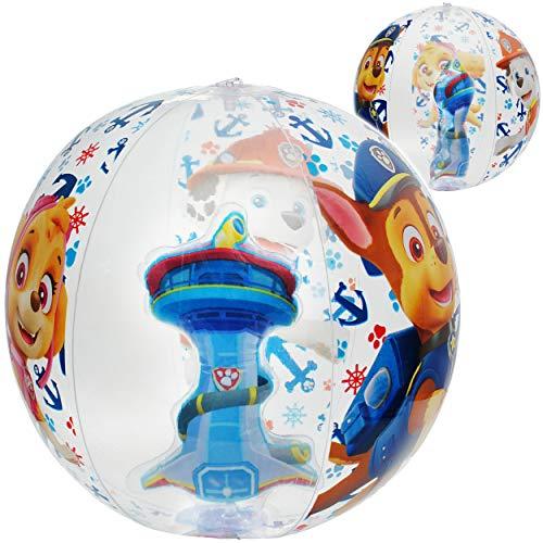 alles-meine.de GmbH 2 Stück _ 3D Effekt _ Strandbälle / Bälle - aufblasbar - Paw Patrol - Hunde - Ø 40 cm - Wasserball - durchsichtig & transparent/ Beachball - Kinder - Baby - S..