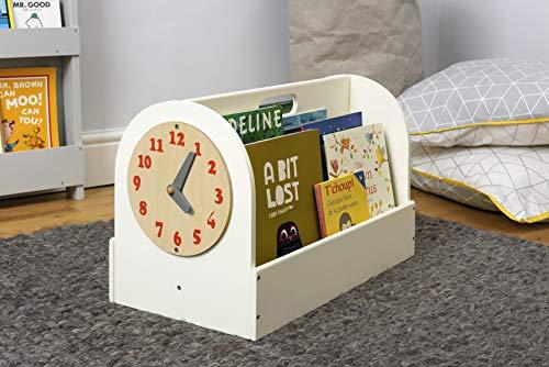 Tidy Books ® Cajon guarda libros, Mini librería infantil, Reloj de juguete, Almacenaje de libros, Madera, Color crema, 35 x 55 x 31 cm, ECO friendly, Hecho a mano, El original desde 2004