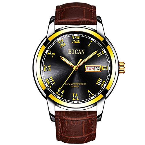 2020 Relojes para Hombre de la Mejor Marca de Moda Relojde Oro de Cuarzo Relojde Pulsera de Acero para Hombres Relojimpermeable Fecha Semana Dial Reloj+ Caja