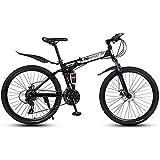 MSG ZY Bicicleta Plegable MTB, Cuadro de Acero con Alto Contenido de Carbono, Bicicleta Todo Terreno de 26', 24-27 velocidades, Bicicleta de montaña con Doble suspensión y Freno de Disco Doble