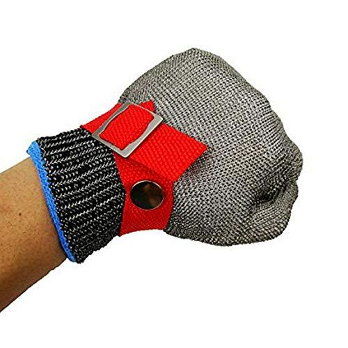 GuDoQi Schnittschutz Handschuhe, Schnittfester Handschuhe Aus Edelstahldraht, Schutzgrad 5, Küchenhandschuhe, Sicherheits Anti Schneid Handschuhe zum Schlachten, Holzschnitzerei (Größe: XL)