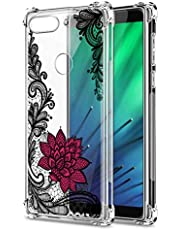 Oihxse Cristal Compatible con Huawei P20 Funda Transparente TPU Silicona Estuche Airbag Esquinas Anti-Choque Anti Rasguños Diseño Rosa Flower Caso (Flores B6)