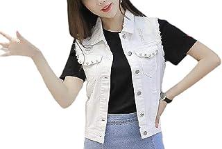 Women's Sexy Sleeveless Slim Fit Cropped Denim Jacket Vest