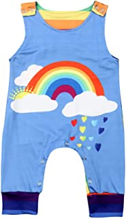 Newborn Infant Baby Girl Boy Sleeveless Rainbow Romper Jumpsuit Clothes Outfits