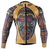 African Art Tribal Print Men's Cycling Jersey Long Sleeve Bike Jacket Biking Bicycle Jersey Shirt