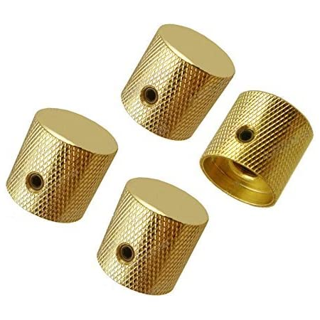 Metal Durable Bass Knobs Replacement Dome Knobs Volume Control for Electric Guitar Bass Golden
