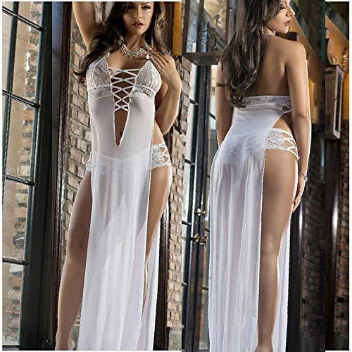 CHBY Conjuntos de lencería erótica para Mujer Monos de Mujer Lencería Sexy Blanca camisón de Mujer Falda Larga de Mujer Sexy Blanco tamaño Libre