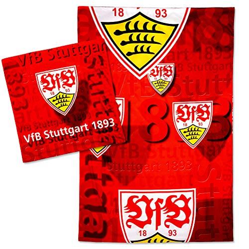 VfB Stuttgart Bettwäsche 100{f63e59cfd2a8582b229919e8822ecf172add157fdcb9534bf4941522ae8746b9} Baumwolle Kissen 80x80cm Decke 135x200 cm Design Wappenflug