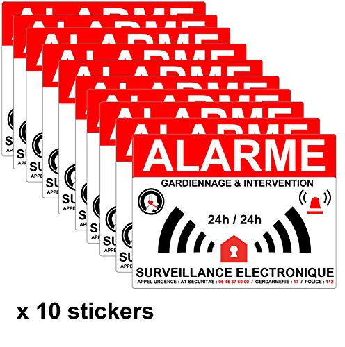 Lot de 10 Autocollants dissuasifs Alarme-gardiennage - 8 x 6 cm