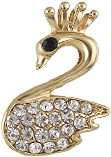 Feelontop 1pc New Luxury Gold Rhinestone Pearl Lovely Owl Swan Spider Cherry Brooches with Jewelry Pouch