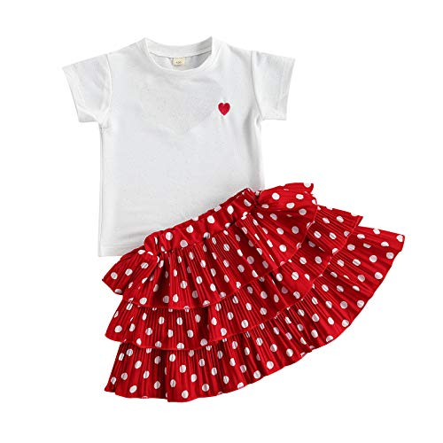 Toddler Baby Girl Outfit Clothes Short Sleeve T-Shirt Top+Polka Dots Ruffle A-Line Skirts Summer 2Pcs Outfits Set (Red, 120)