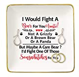 I Would Fight A Bear For You Auntie – Ceramic Jewelry Holder Ring Dish Trinket Tray – Funny Birthday Christmas Mother's Day Valentine Thanksgiving Gifts for Aunt,Auntie
