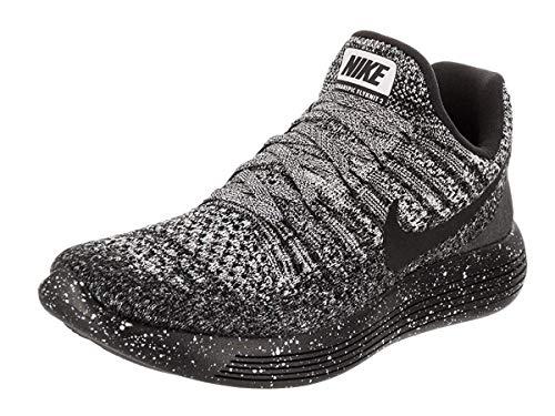 Nike Hombres Lunarepic Low Flyknit 2 Bajos & Medios Cordon Zapatos para Correr, Black Black White, Talla 6