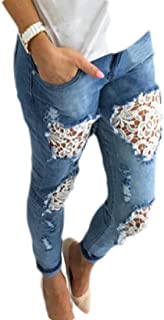 Women Lace Patchwork Skinny Pants Jeans Slim Pencil Trousers