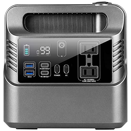 MYWUBAO Portable Power Station 300, generatore ad energia solare, batteria di backup al litio, 80000mAh 296Wh pulito, QC3.0 USB, Fornitura per backup emergenza campeggio CPAP