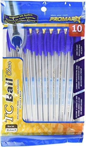 Promarx TC Ball Clear Stick Pens, Medium Point, 1.0 mm, Blue Ink, 10 Count
