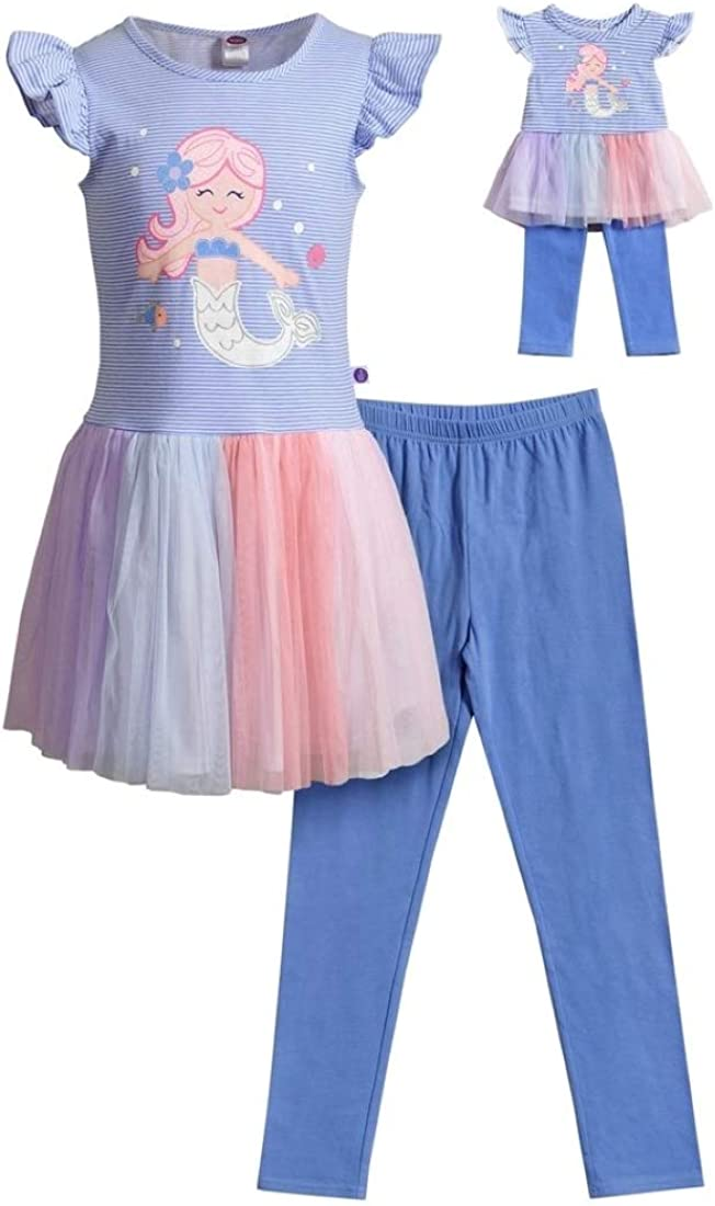 Dollie Tulsa Mall Me Girls Size Sales of SALE items from new works 4-12 Purple Glitter Legging Tunic Mermaid