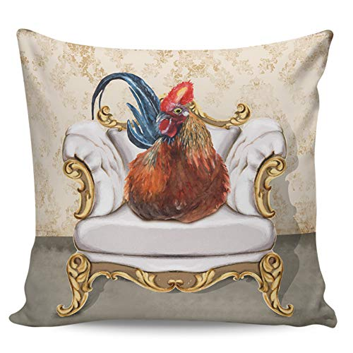 Decorative Throw Pillow Covers- Farm Retro Oil Painting Style Rooster Vintage Sofa Ultra Soft Pillowcase Comfy Square Cushion Cover Case for Sofa Bedroom, 18' x 18'