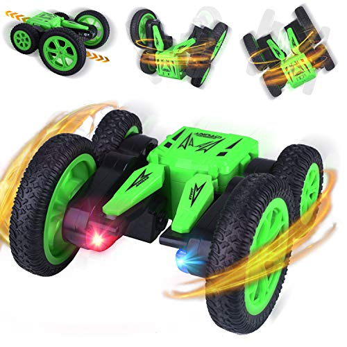 Longruner RC Coche Teledirigido Stunt Toy Car 4WD with Doble Lado Rotación de 360° Grados de Alta Velocidad 2.4GHz Control Remoto Tracks Off Road Truck Coches para Niños LQ71