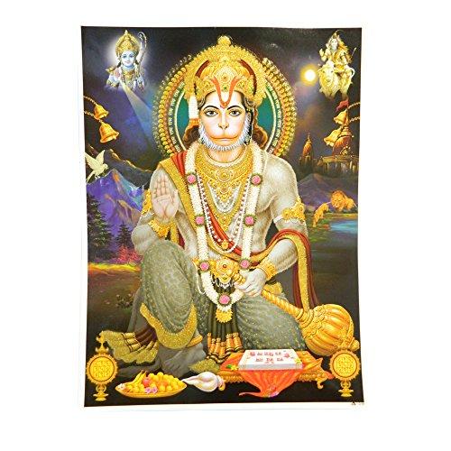 indischerbasar.de Stampa Hanuman 30 x 40 cm divinità Hindu Stampa Indiana Accessori Decorazioni casa