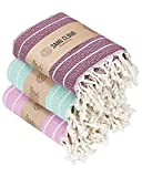 Sand Cloud Turkish Towel - Peshtemal Cotton - Great for Beach or as a Blanket - The Gocek (Mixed - 3 Pack Warm Colors)