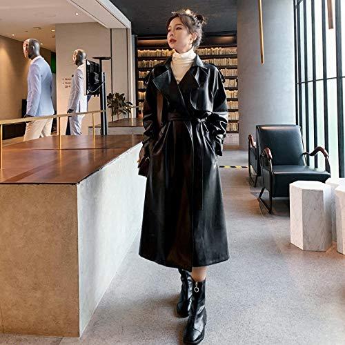 Jskdzfy Chaquetas para mujer de piel sintética larga con cinturón, cortavientos para mujer, chaqueta impermeable para mujer, abrigos para mujer (color: negro, tamaño: mediano)