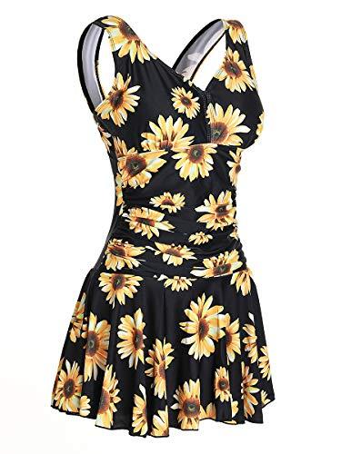 MiYang Women's Plus-Size Shaping One Piece Swim Dresses Swimsuit Sunflower Medium (US 8-10)