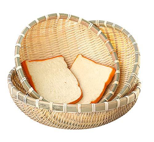 Cedilis 3 Pack Bamboo Basket Tray, Wicker Bread Basket, 100% Natural Handmade Woven Fruit Basket, U Shape Holder Flat Shallow Vegetables Serving Basket, Stackable, 10Inch, 11Inch, 12Inch