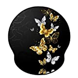 Mouse Pads with Wrist Support,Ergonomic Mouse Pad for Men Women,Wrist Rest Mouse Pad for Laptop Computers,Non-Slip Memory Foam Mousepad w/Stitched Edges,Home Working Office Gaming (Gold Butterfly)