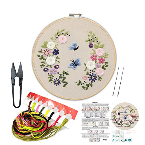 Handmade Embroidery Starter Kit Set with Partten Including Embroidery Cloth,Bamboo Embroidery Hoop, Color Threads, and Other Tools Kit for Beginners