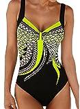 Aleumdr Maillot de Bain 1 Pièce Femme Chic Amincissant Imprimé Elastique Sportif Rembourré Push-Up Dos Nu Plage Swimwear Jaune M