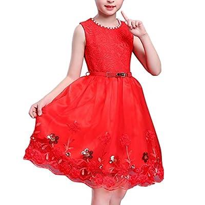 BANGBO LEATHER Elegant Flower Girl Dress Sleeveless Party Dress Princess Dress with Belt for Girls 3-9 Years Old