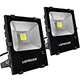 LEPOWER 50W LED Flood Light 2 Pack, Super Bright Outdoor Work Light with Plug, 250W Halogen Bulb Equivalent, IP66 Waterproof, 4000lm, 6000K, Outdoor Led Lights ( White Light )