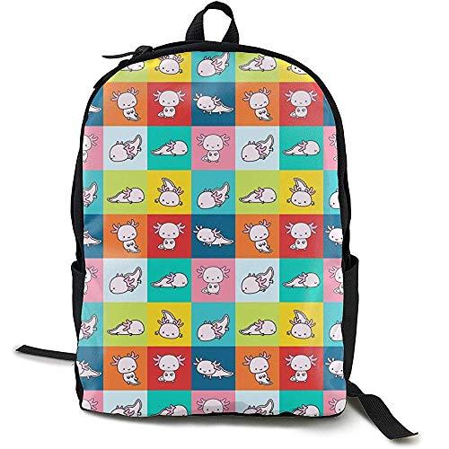 Rucksäcke,Fliesen Axolotls Set Bunte Schachbrettmuster Schultaschen Hilfreiche Daypacks Für Erwachsene Teens Kids