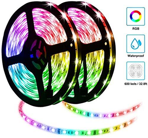 ZJN.DD LED-Streifen Leuchten, 10m 300LEDs wasserdichte RGB-Lichtleisten mit 44-Tasten-IR-Fernbedienung, SMD 5050 Farbwechsel IP65 Wasserdicht für Küchenparty Gartenhaus [Energieklasse A +]