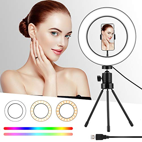 "RGB Color Ring Light with Stand and Phone Holder, WSTJY 10"" Mini Desktop Selfie Led Ringlight for YouTube Video/Photography/Makeup, 3 Light Modes and Colorful 8 Brightness"