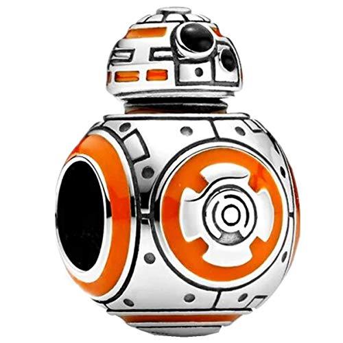 Annmors Abalorios Charms Colgantes de Star Wars Charm BB-8 Cuentas Plata de Ley 925 con Circonita cúbica Transparente Compatible con Pulsera Pandora & Europeo, Charms para Mujer Niña