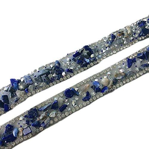 Atsknsk 50 cm Artificial Stone Beaded Lace Trim Vintage Mesh Fabric Paillette Lace Ribbon Costume Applique Sewing on Trim 3.5cm Width (style2)